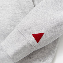 Load image into Gallery viewer, MANCUNIAN MARL GREY / RED FLOCK HOOD SWEAT