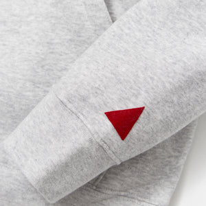 MANCUNIAN MARL GREY / RED FLOCK HOOD SWEAT
