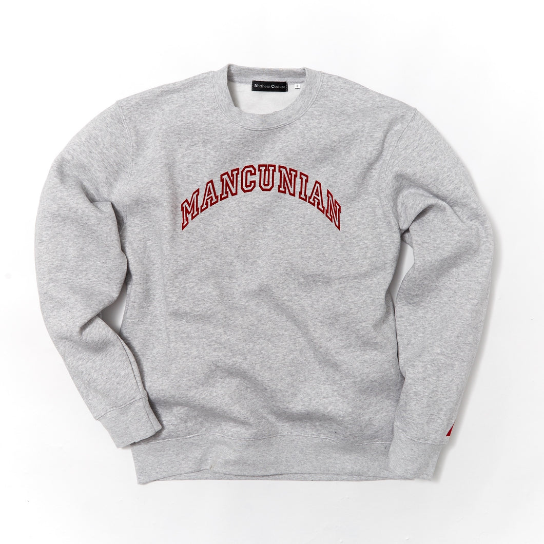 MANCUNIAN MARL FLOCK CREW NECK SWEAT