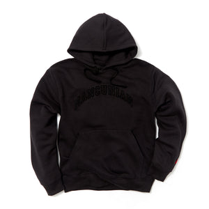 MANCUNIAN BLACK FLOCK HOOD SWEAT