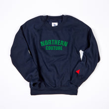 Load image into Gallery viewer, JUNIOR NORTHERN COUTURE NAVY / GREEN FLOCK PRINT SWEAT