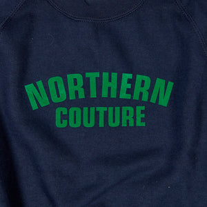 JUNIOR NORTHERN COUTURE NAVY / GREEN FLOCK PRINT SWEAT