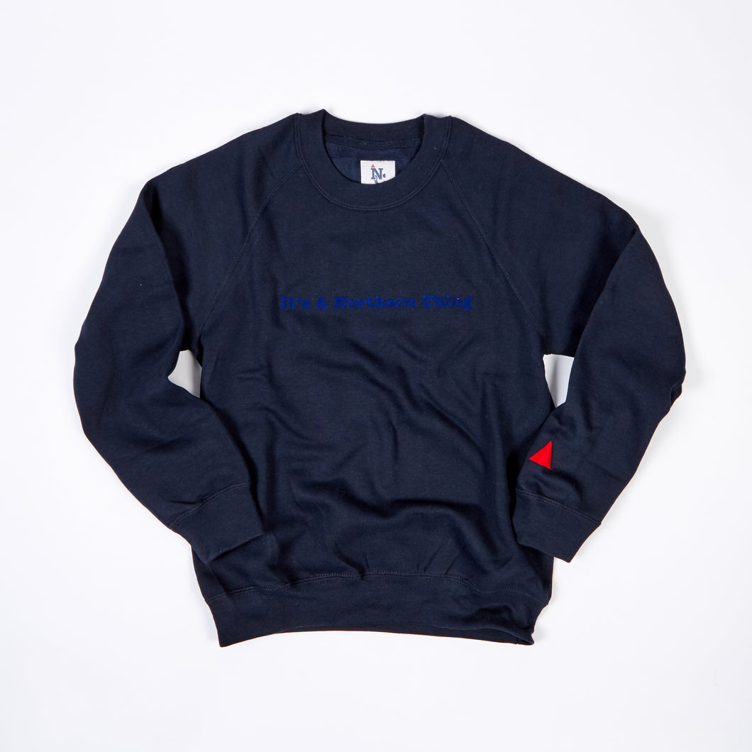JUNIOR ITS A NORTHERN THING NAVY / ROYAL BLUE FLOCK PRINT SWEAT