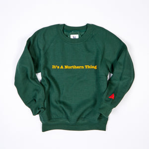 JUNIOR IT'S A NORTHERN THING GREEN / YELLOW FLOCK PRINT SWEAT