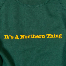 Load image into Gallery viewer, JUNIOR IT'S A NORTHERN THING GREEN / YELLOW FLOCK PRINT SWEAT