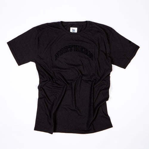 JUNIOR NORTHERN BLACK FLOCK PRINT T-SHIRT