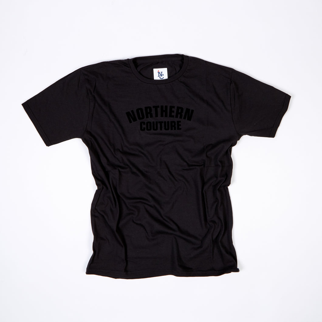 JUNIOR NORTHERN COUTURE BLACK / BLACK FLOCK PRINT T-SHIRT