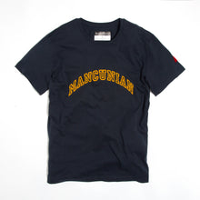 Load image into Gallery viewer, MANCUNIAN FLOCK NAVY ORGANIC TEE