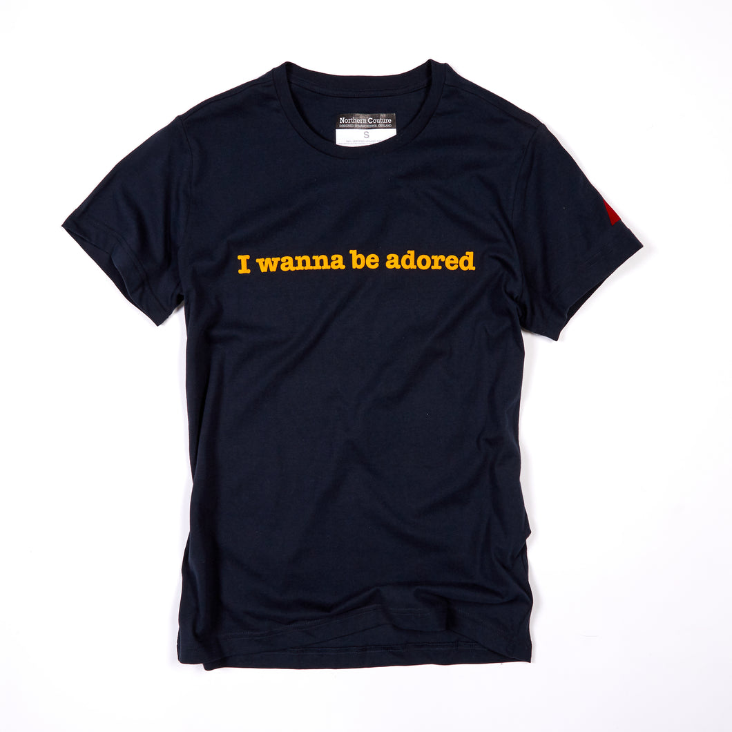 ADORED - FLOCKED NAVY / YELLOW ORGANIC TEE