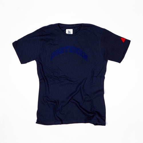 JUNIOR NORTHERN NAVY / ROYAL BLUE FLOCK PRINT T-SHIRT