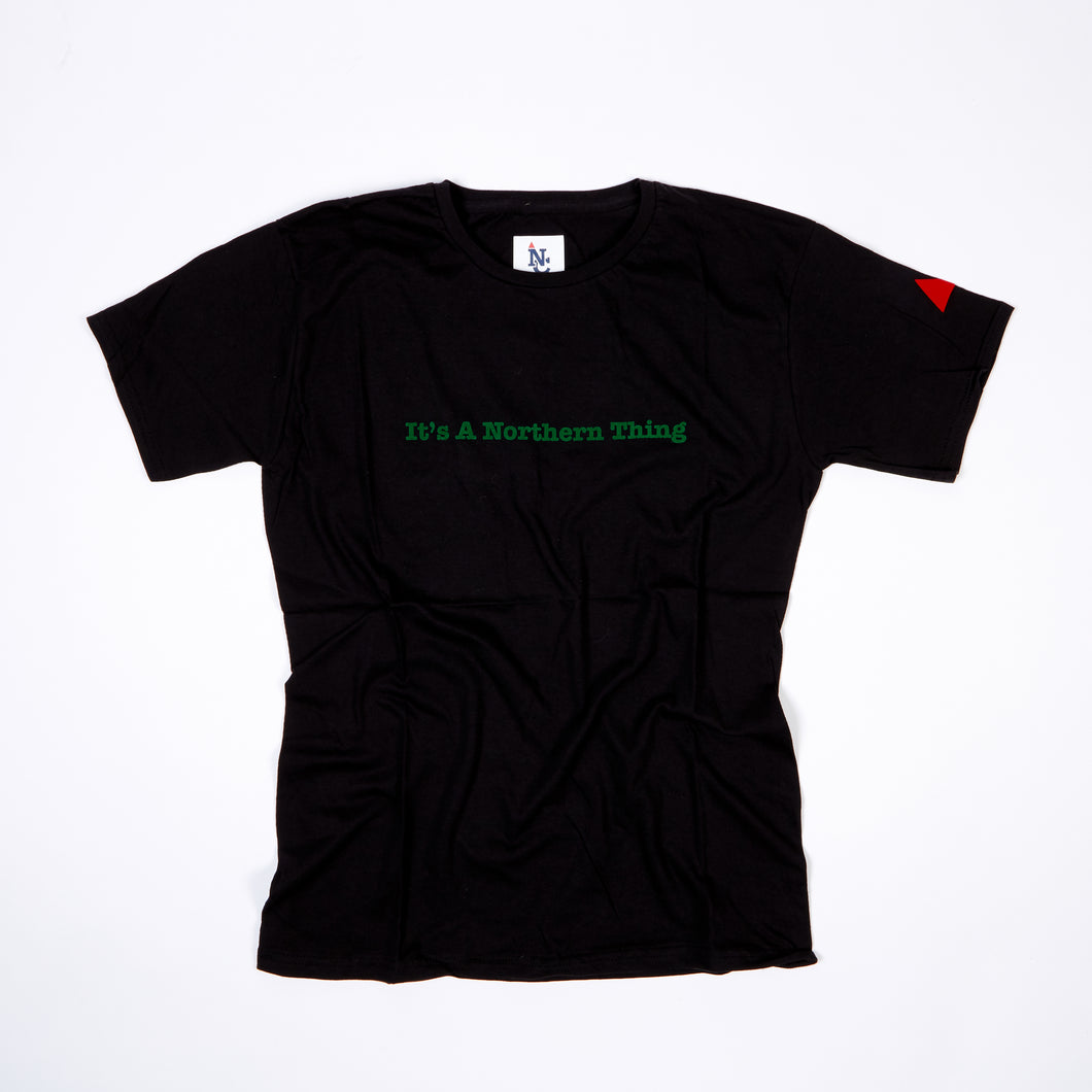 JUNIOR ITS A NORTHERN THING BLACK / GREEN FLOCK PRINT T-SHIRT