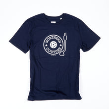 Load image into Gallery viewer, TURNTABLE INSPIRED NAVY ORGANIC COTTON T-SHIRT