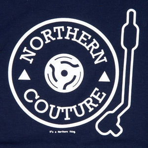 TURNTABLE INSPIRED NAVY ORGANIC COTTON T-SHIRT