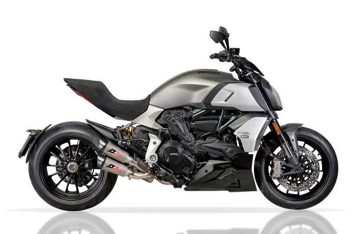 "The Brand New Titanium Exhaust for Ducati Diavel 1260 by QD Exhaust ""Twin Gunshot"""