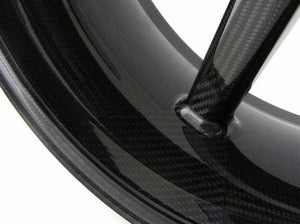 "BST Ducati Panigale V4 Carbon Wheel ""Mamba TEK"" (offset rear, 7 straight spokes, black hubs)"
