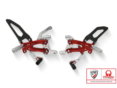 PE410PR - CNC RACING Ducati Streetfighter V4 Adjustable Rearset (carbon heel guards; Pramac Racing Limited Edition)