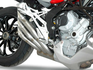 "QD EXHAUST MV Agusta Stradale 800 Triple Slip-on Exhaust ""Power Gun"" (silver; EU homologated)"