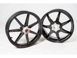 "BST MV Agusta Dragster 800 Carbon Wheels ""Mamba TEK"" (front & offset rear, 7 straight spokes, silver hubs)"