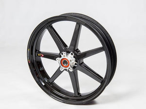 "BST Ducati Panigale V4 Carbon Wheel ""Mamba TEK"" (front, 7 straight spokes, silver hubs)"