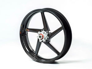 "BST Ducati Monster S2R Carbon Wheels ""Diamond TEK"" (front & offset rear, 5 swept spokes, silver hubs)"