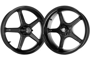 "BST Ducati Scrambler Carbon Wheels Set ""Twin TEK"" (5 straight spokes, black hubs, front & conventional rear)"
