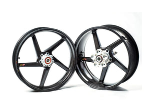 "BST Aprilia Dorsoduro 750 / 1200 Carbon Wheels ""Diamond TEK"" (front & conventional rear, 5 swept spokes, silver hubs)"
