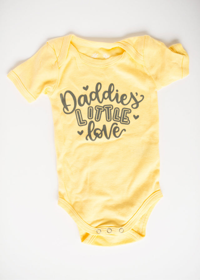 Specially Printed Daddies Little Love - Butter Yellow - PeaTree