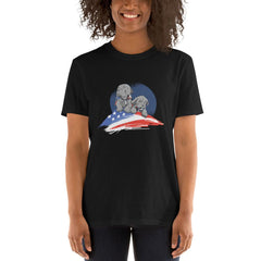 American Flag Pug Women's T-Shirt MatchingStyle.com Black S