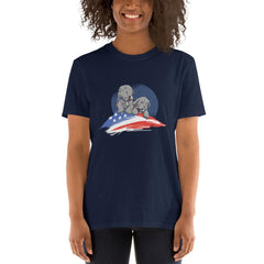 American Flag Pug Women's T-Shirt MatchingStyle.com Navy S