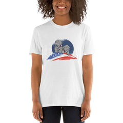 American Flag Pug Women's T-Shirt MatchingStyle.com White S