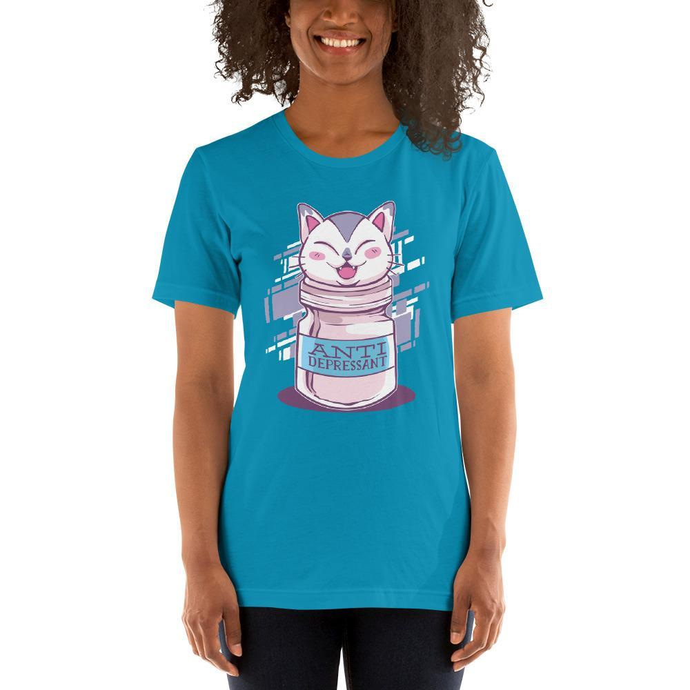 Anti Depressive Cat Women's T-Shirt MatchingStyle.com Aqua S