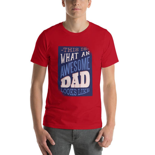 Awesome Dad Men's T-Shirt MatchingStyle.com Red S