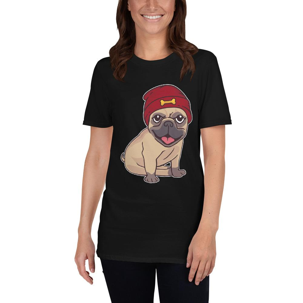 Beanie Hat Pug Women's T-Shirt MatchingStyle.com Black S