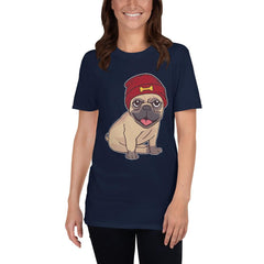 Beanie Hat Pug Women's T-Shirt MatchingStyle.com Navy S