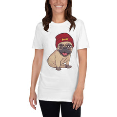 Beanie Hat Pug Women's T-Shirt MatchingStyle.com White S