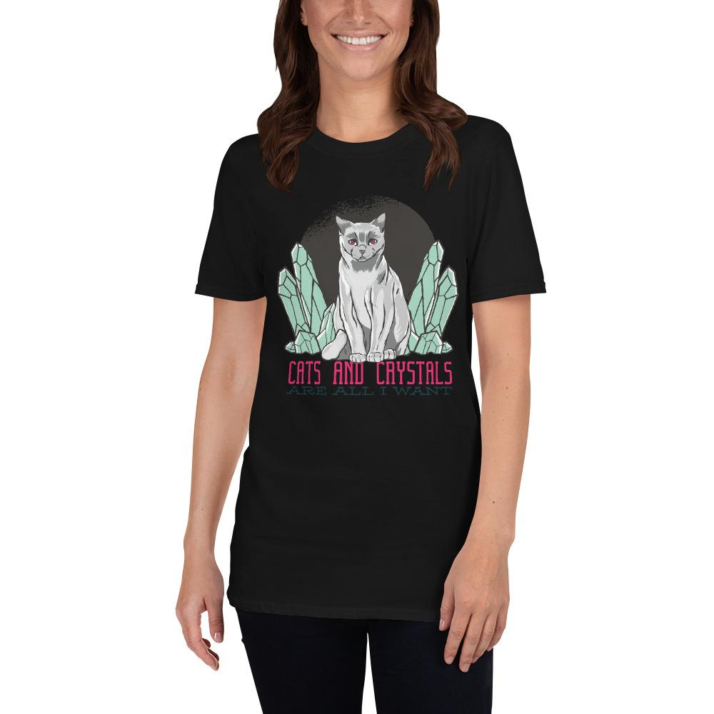 Cats And Crystals Women's T-Shirt MatchingStyle.com Black S