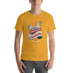 Chicken Farm Life Vintage Men's T-Shirt MatchingStyle.com Mustard S
