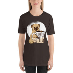 Coffee With Pug Women's T-Shirt MatchingStyle.com Brown S