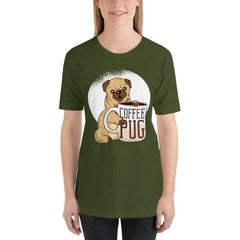 Coffee With Pug Women's T-Shirt MatchingStyle.com Olive S