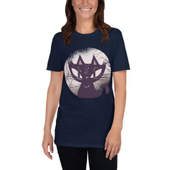 Dark Cat Halloween Women's T-Shirt MatchingStyle.com Navy S