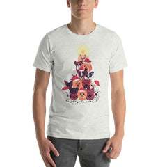 Dog Christmas Tree Men's T-Shirt MatchingStyle.com Ash S