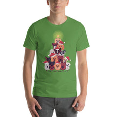 Dog Christmas Tree Men's T-Shirt MatchingStyle.com Leaf S