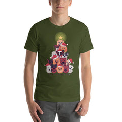 Dog Christmas Tree Men's T-Shirt MatchingStyle.com Olive S