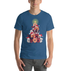 Dog Christmas Tree Men's T-Shirt MatchingStyle.com Steel Blue S