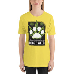Dogs and Weed Women's T-Shirt MatchingStyle.com Yellow S