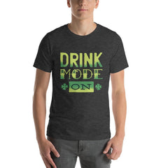 Drink Mode On Men's T-Shirt MatchingStyle.com Dark Grey Heather S