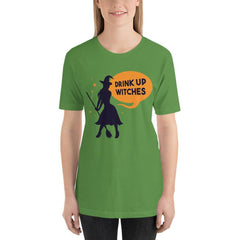 Drink Up Witches Funny Halloween Women's T-Shirt MatchingStyle.com Leaf S