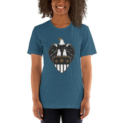 Eagle Shield Women's T-Shirt MatchingStyle.com Heather Deep Teal S