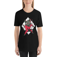 Fencing Cat Women's T-Shirt MatchingStyle.com Black S