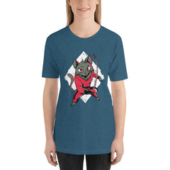 Fencing Cat Women's T-Shirt MatchingStyle.com Heather Deep Teal S